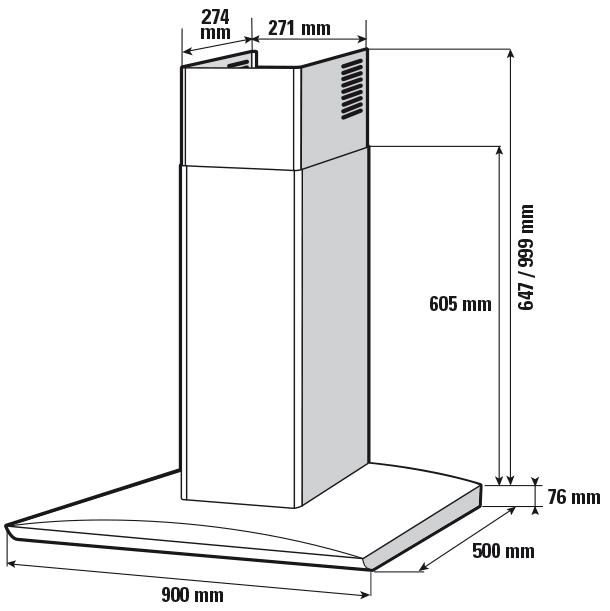 hotte d corative shr4922b sauter lectrom nager. Black Bedroom Furniture Sets. Home Design Ideas